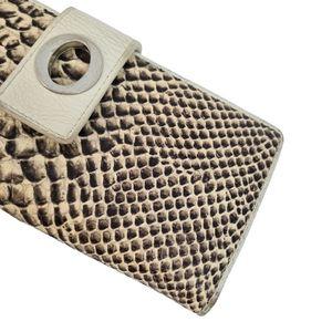 Oroton Leather Brown Ivory Snake Skin Wallet Purse